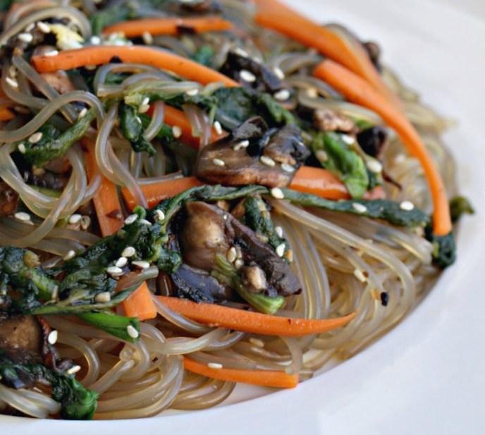 VEGAN Korean Glass Noodle Stir fry – Japchae (Paleo, GF, Vegan)