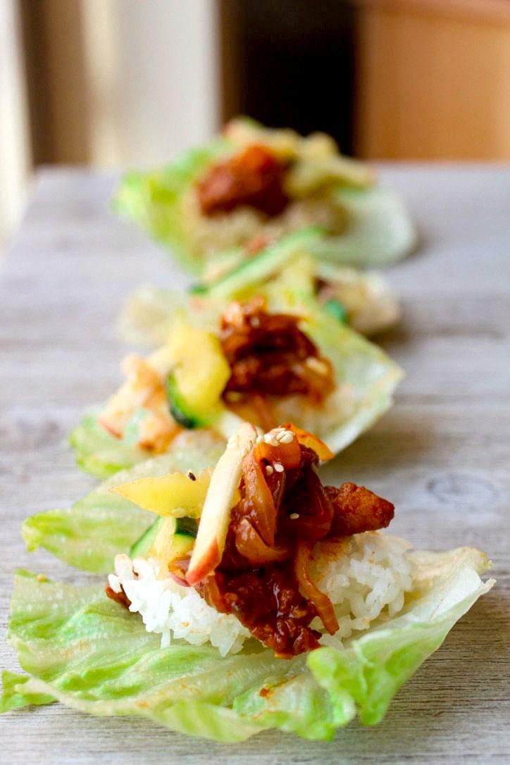 Spicy Pork Bulgogi with Kiwi-Apple Kimchi (GF, Oil-Free)