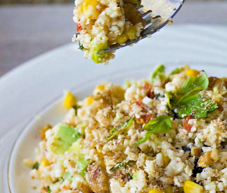 Mediterranean Cauliflower Couscous (Grain Free, GF, DF, Vegan, Oil-Free)