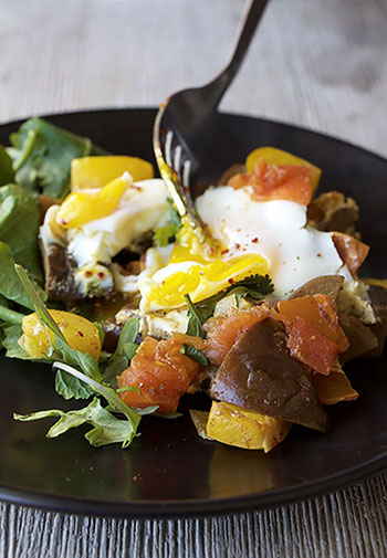 Mediterranean Poached Eggs (GF, Paleo, DF, Oil-Free, Vegetarian)