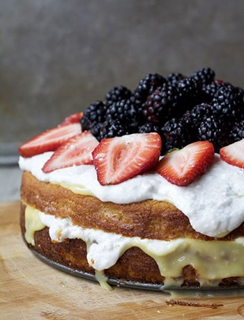 Summer Lemon Curd Cream Cake with Berries (Paleo, GF, Oil-Free, Refined Sugar Free)