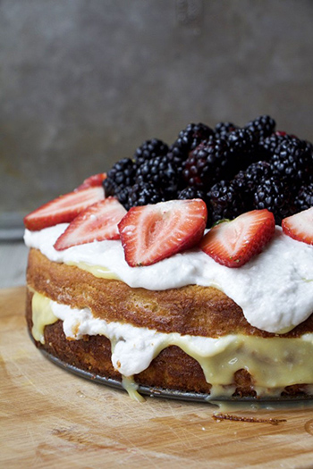 Summer Lemon Curd Cream Cake with Berries (Paleo, GF, Oil-Free, Refined Sugar Free)