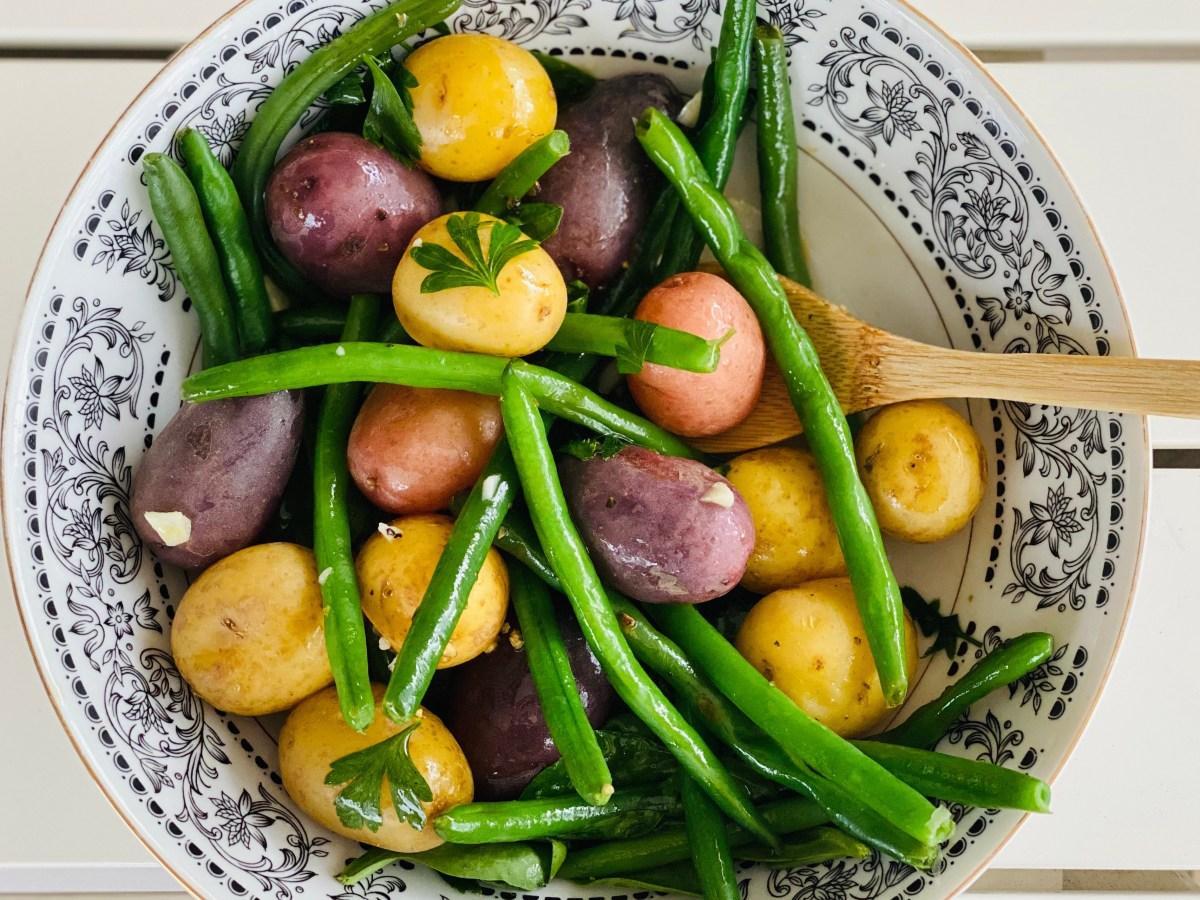 Warm vegetable salad with herb vinaigrette