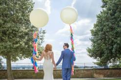 Alternative unconventional wedding - balloons colour