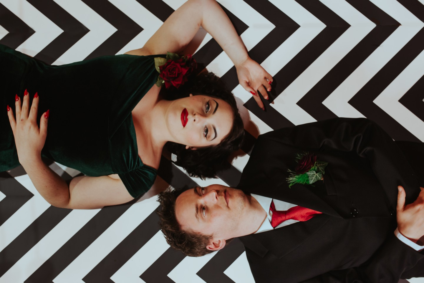 A Twin Peaks Wedding Styled Shoot - alternative - unconventional - chevron floor