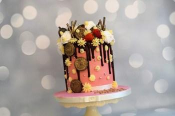 Bake to the future pink drip wedding cake - alternative wedding cake