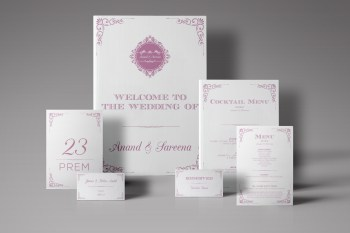fine stationery by ampersans logo - wedding stationery - purple - cream