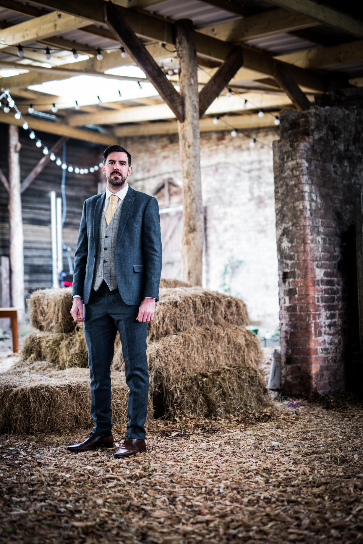 Peacock barns - alternative unconventional wedding photoshoot - rustic decadent - groom - barn