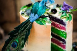 Peacock barns - alternative unconventional wedding photoshoot - rustic decadent - peacock rainbow cake