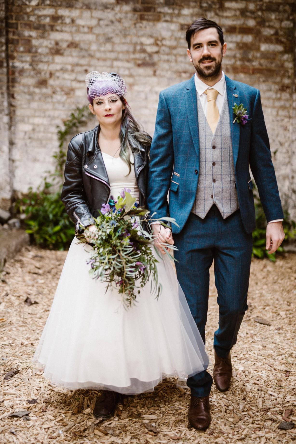 Peacock barns - alternative unconventional wedding photoshoot - rustic decadent - bridal leather jacket - barn