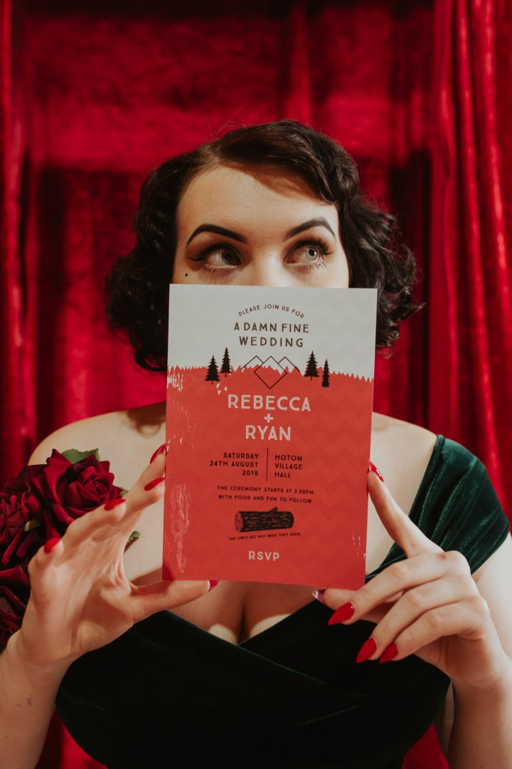 A Twin Peaks Wedding Styled Shoot - alternative - unconventional - bride with invitation