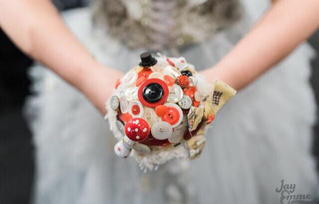Alice in Wonderland wedding inspiration - custom alternative bouquet - alternative and unconventional wedding