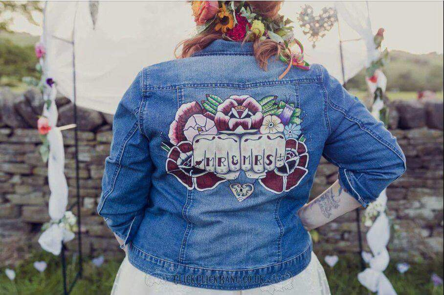 Sammy Lea's Retro Emporium - custom wedding denim jacket - mr and mrs - unconventional alternative