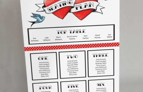 Rae Henry Designs - Wedding Stationery - Table Plan - Hearts and Swallows
