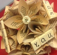 Recycled wedding company - 9 - scrabble - artficial bouquet - alternative - unconventional