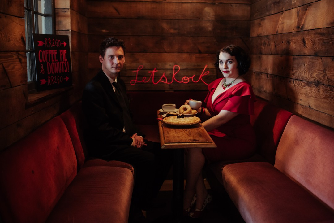 A Twin Peaks Wedding Styled Shoot - alternative - unconventional - bench shot