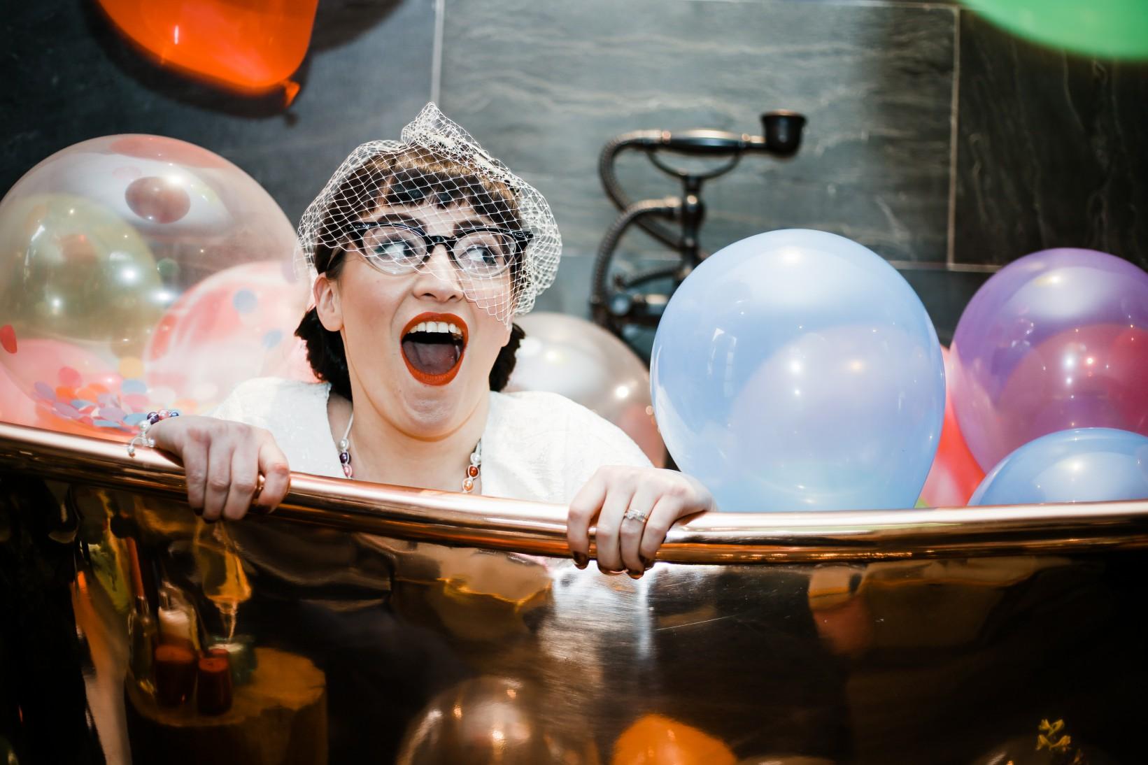 Becky Payne Photographer - Rainbow Unicorn Styled Wedding Shoot - Surprised in bath tub