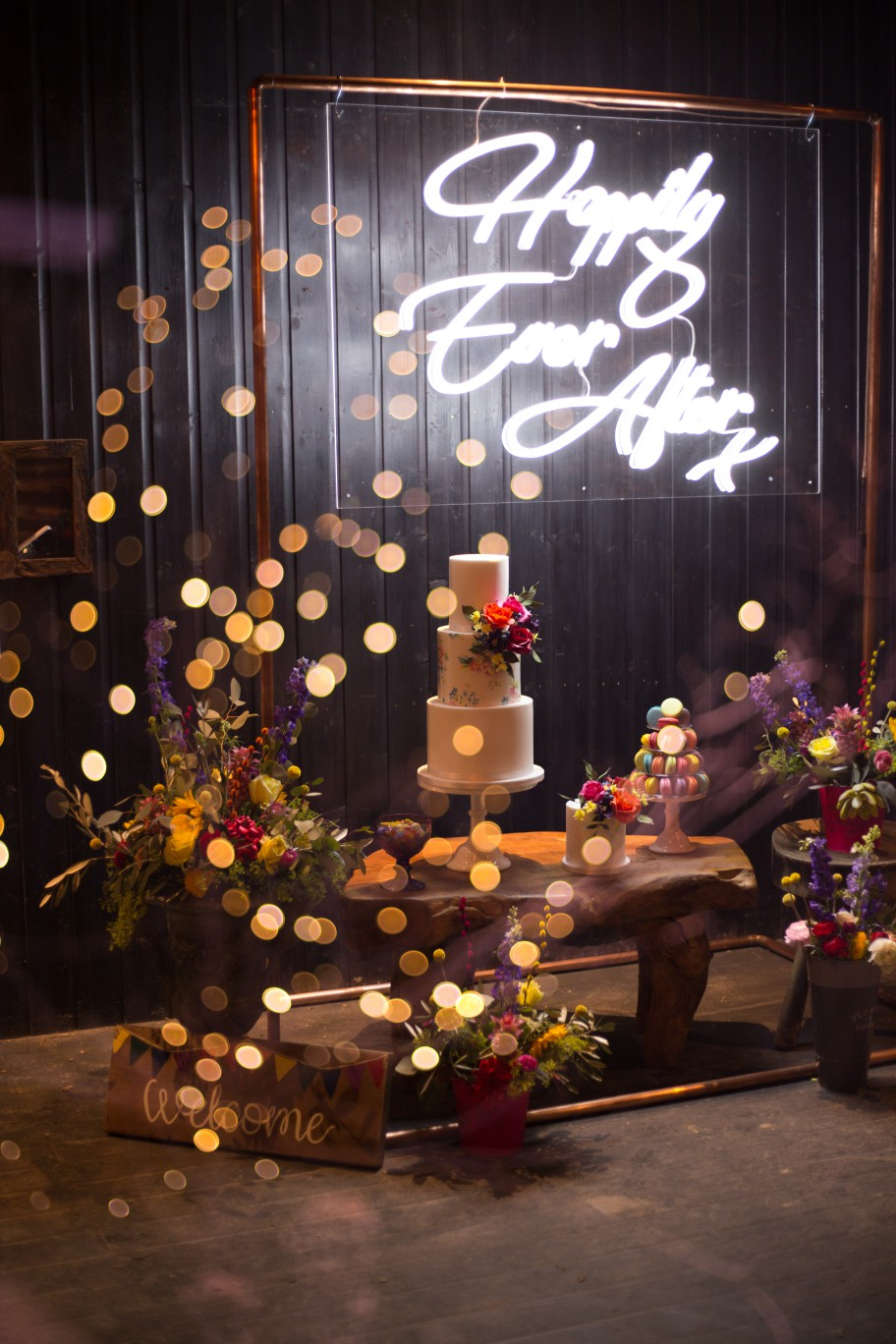 Becky Payne Photographer - Rainbow Unicorn Styled Wedding Shoot -Happily ever after - neon sign - wedding cake