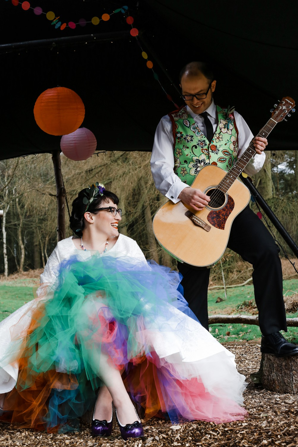 Becky Payne Photographer - Rainbow Unicorn Styled Wedding Shoot - Guitar - Serenade