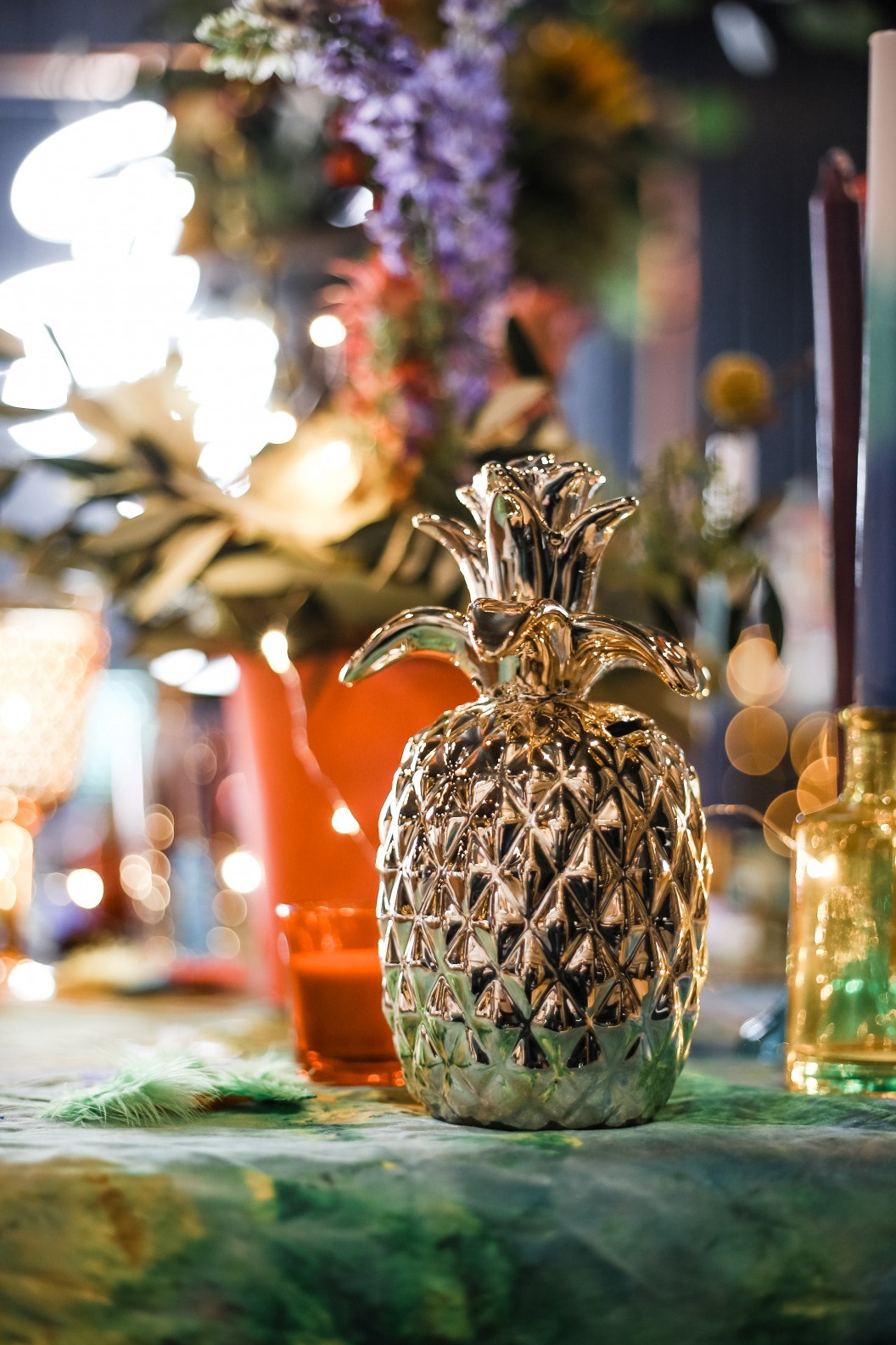 Becky Payne Photographer - Rainbow Unicorn Styled Wedding Shoot - Table set up - Golden pineapple - Gold