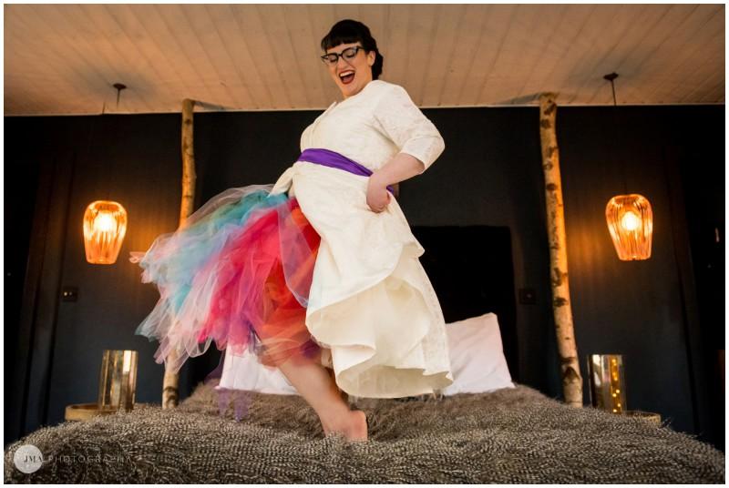 Jemma Mickleborough Photographer - Rainbow Unicorn Wedding - Northstar Club - Bed