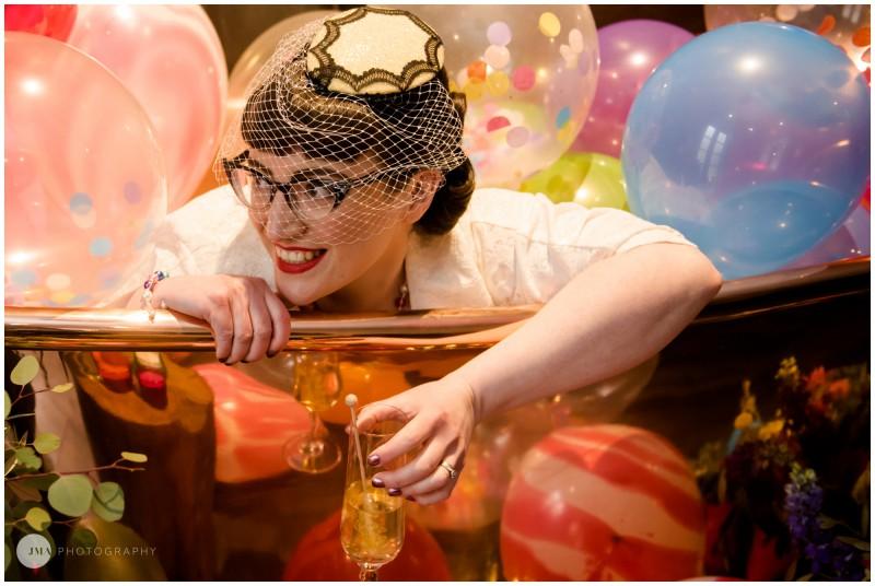 Jemma Mickleborough Photographer - Rainbow Unicorn Wedding - Northstar Club - Bath tub - balloons