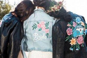 ophelia rose hand painted - bridal leather jackets - bridesmaids jackets - denim jacket