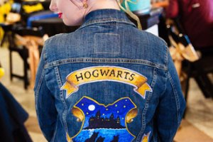 ophelia rose hand painted - bride tribe picture with handpainted denim jacket with hogwarts harry potter design