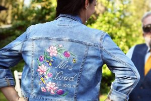 ophelia rose hand painted - mrs loud hand painted denim jacket with floral design