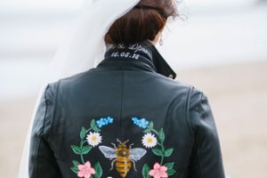 ophelia rose hand painted - magical bridal leather jacket with flowers and bee with writing on the neck