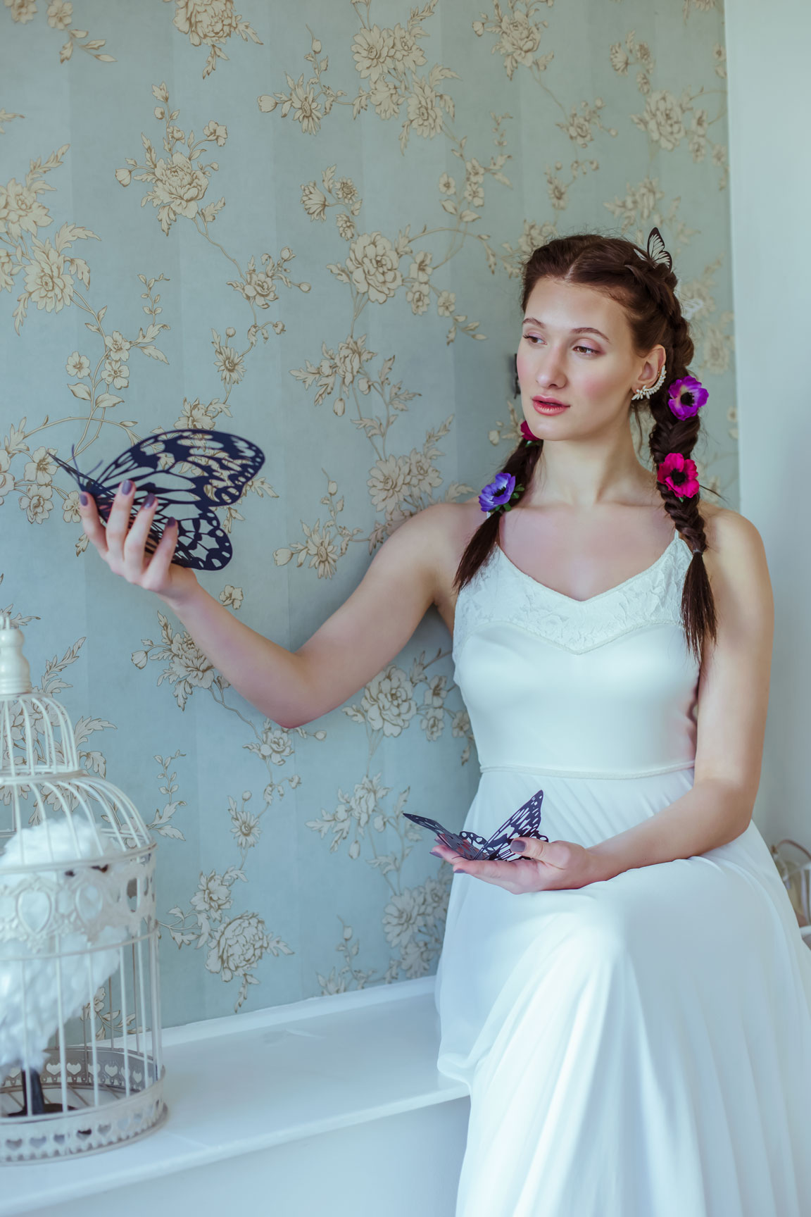 May & Grace Bridal - 3 alternative bridal looks 5 - butterflies - pink and purple flowers