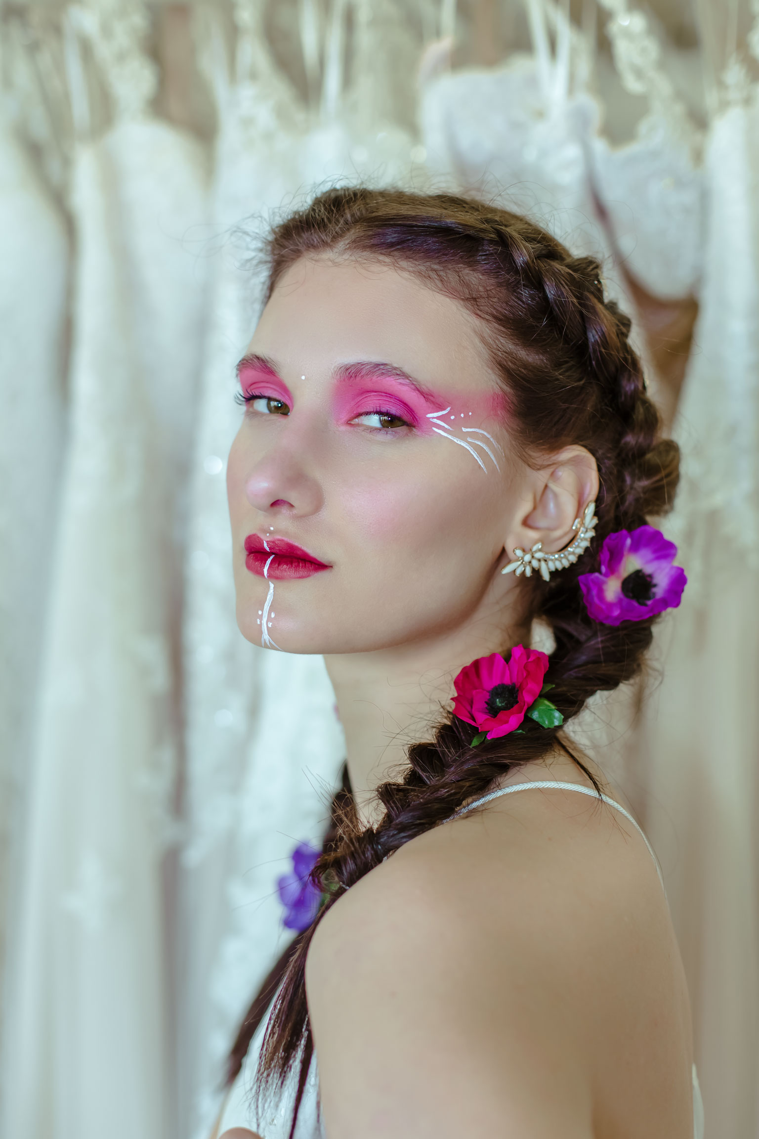 May & Grace Bridal - 3 alternative bridal looks 4 - pink and purple - bold make up