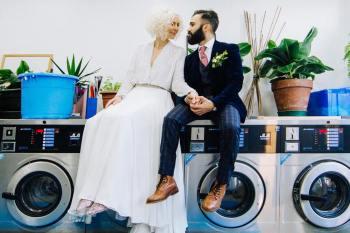 Yvonne Lishman Photography - Launderette wedding banner - alternative wedding photography