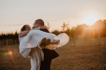 EmilyandGeoff- Nick Shea Photography- Circus Wedding couple sunset