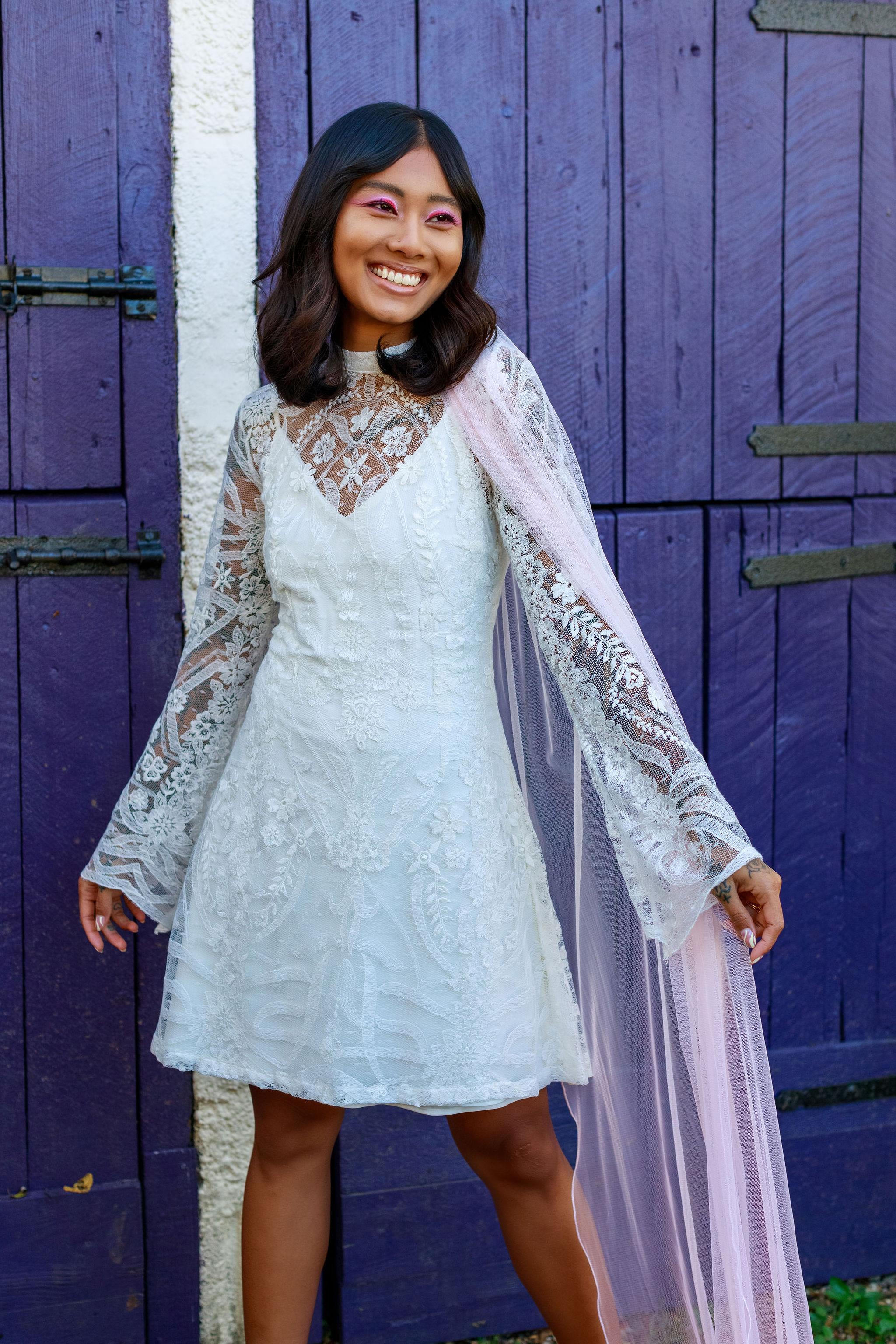 Favourite Lucy Can't Dance unique alternative wedding dress blog - wildflower new bridalwear range 1 - short wedding dress with ombre pink wedding veil