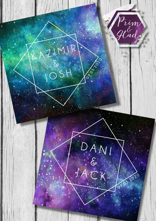 Prim & Glad - galaxy wedding invitations - colour of the year 2019