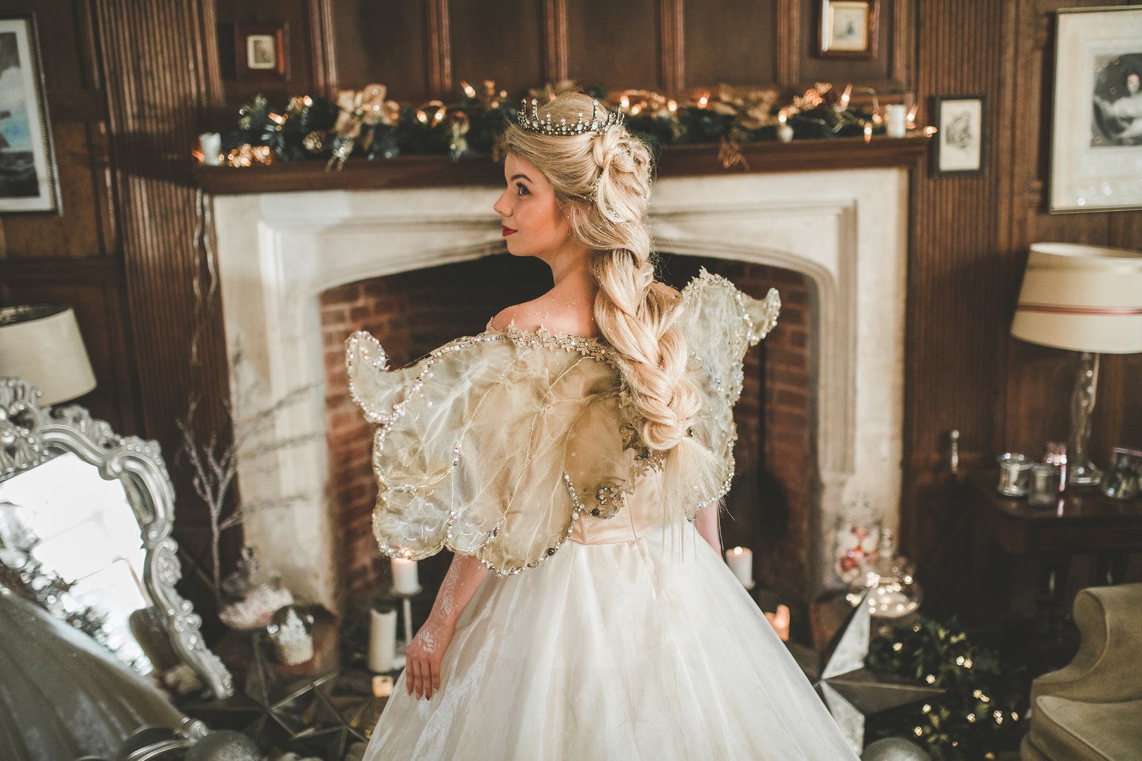 christmas wedding- victoria taylor-christmas fairy- laura beresford- photography-wings