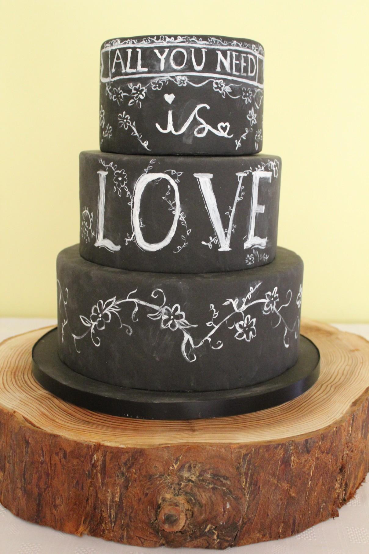 Happy yellow cake company - chalkbord wedding cake - unique wedding cakes 1 (1)