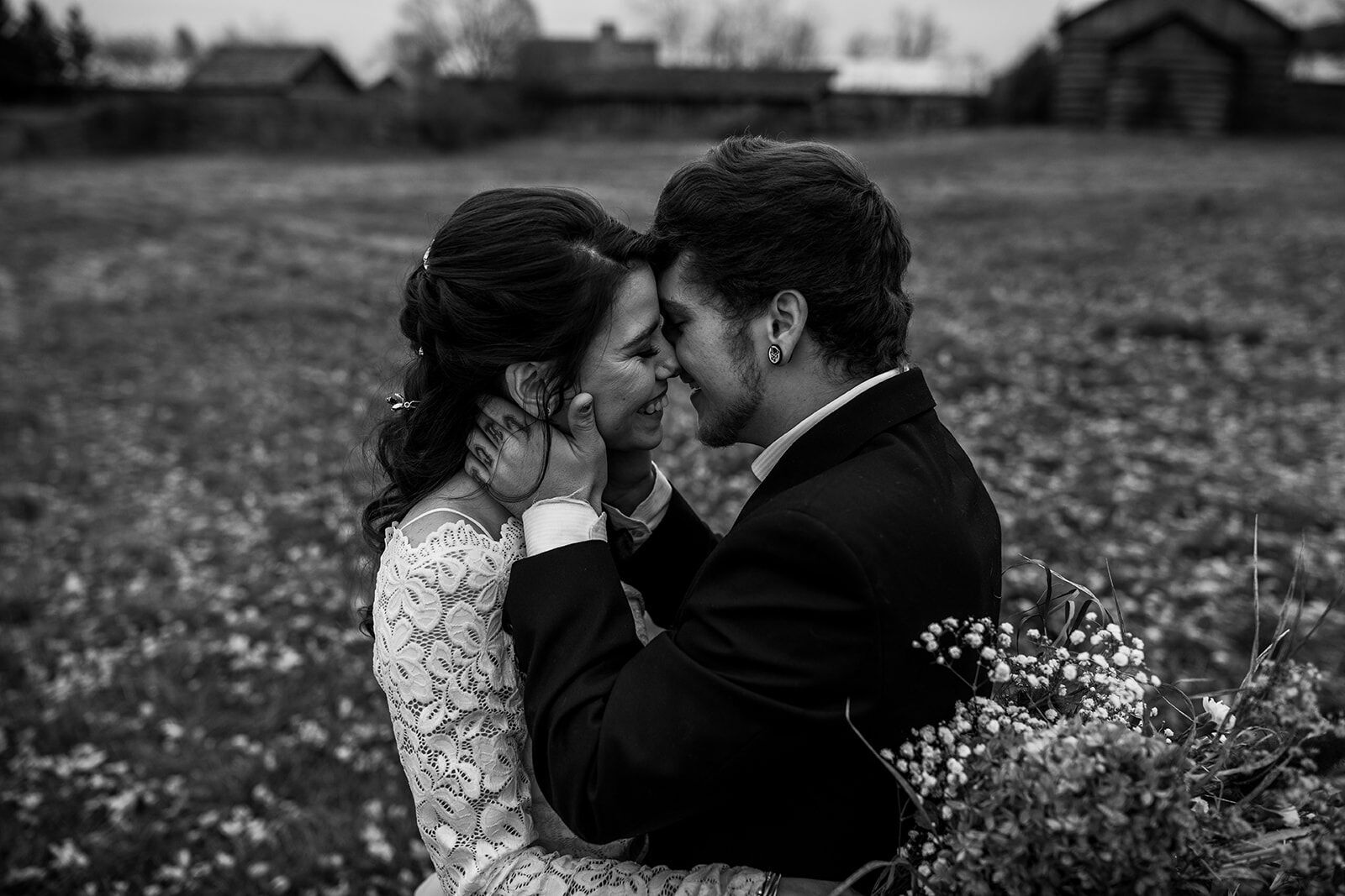 rustic winter wedding- wild honey weddings- black and white