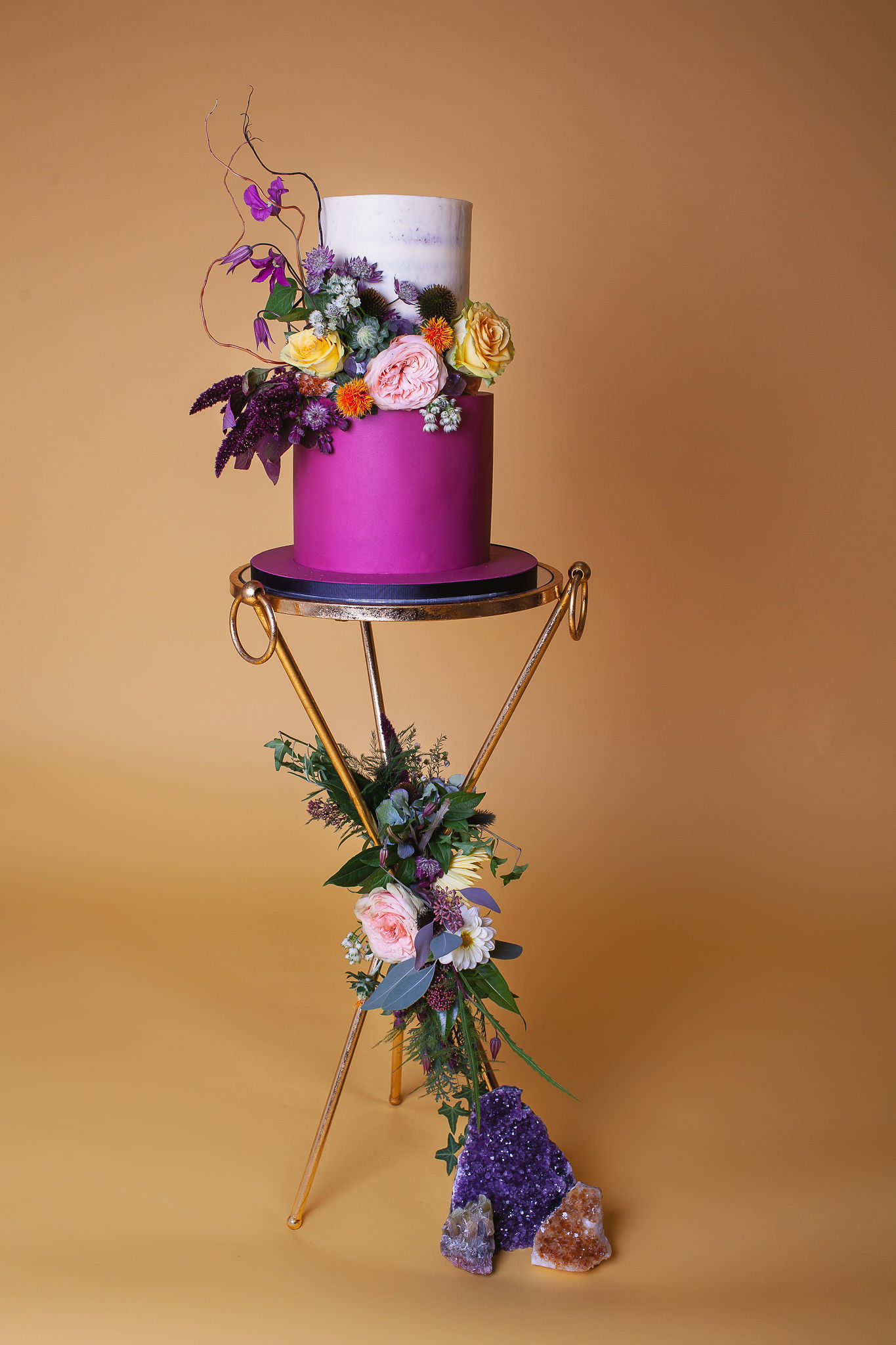 Abundance crystals- colourful wedding- cake