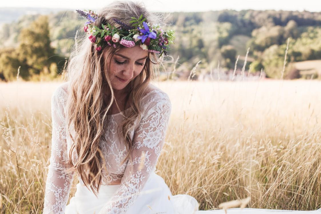 Festival Wedding- Joelle Poulos- Bride In Grass