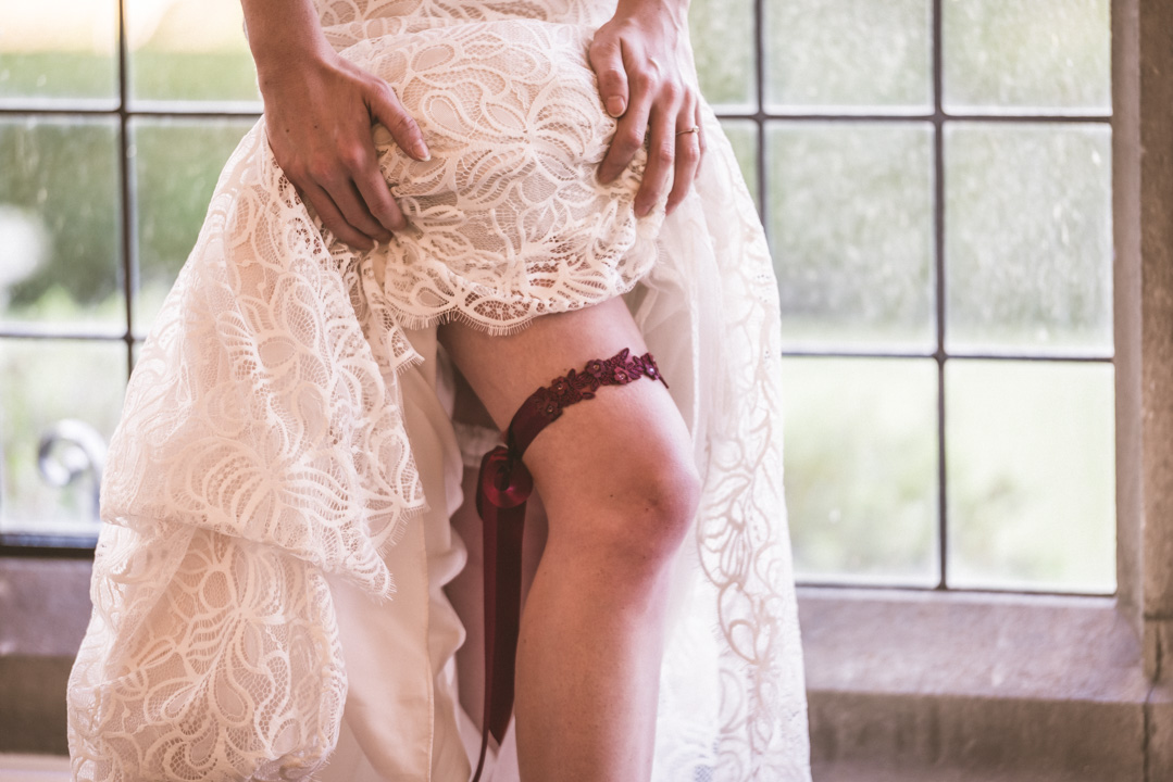 Perfect Timing- Skull Shoot-Red Garter