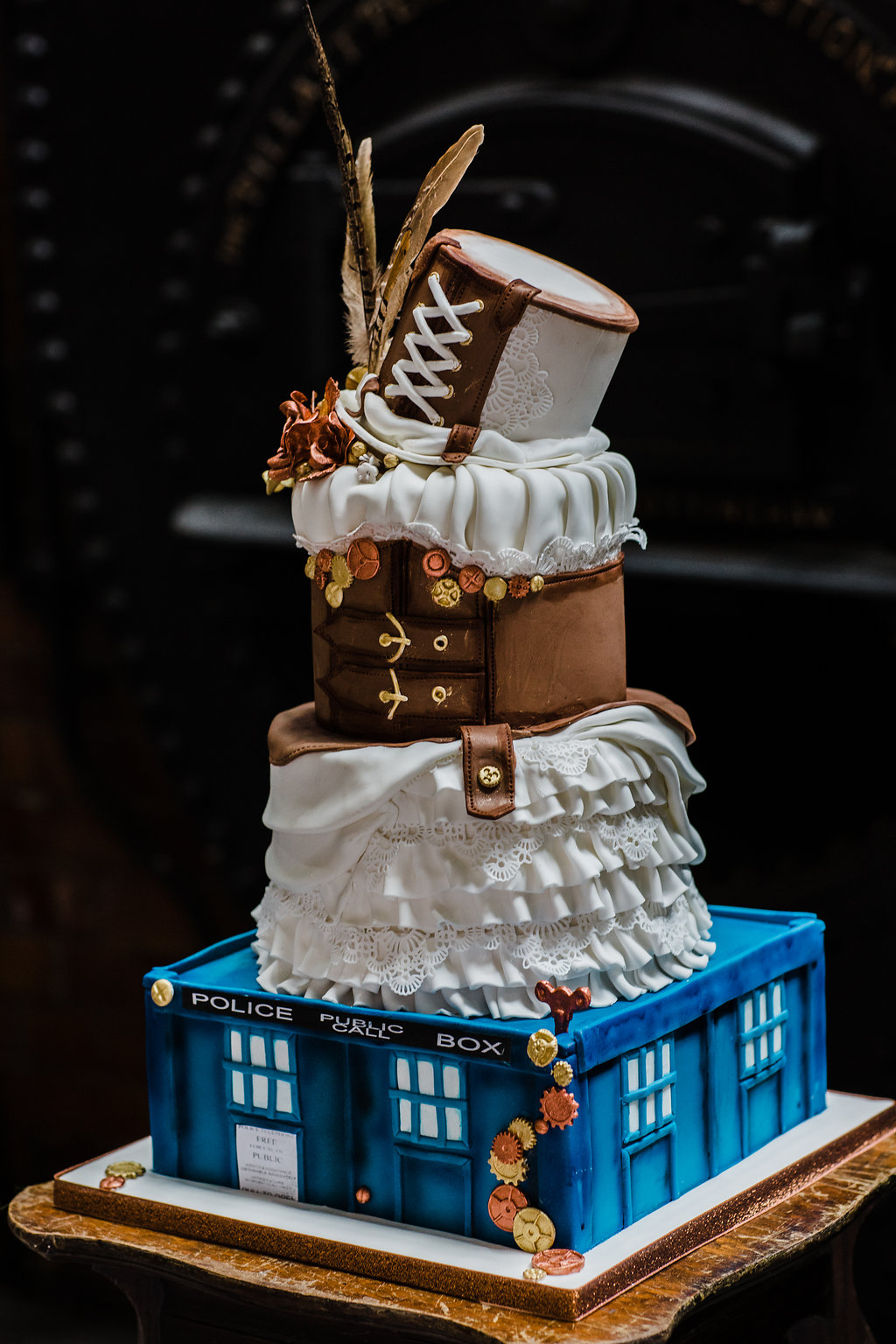 Yvonne Lishman Photography - Doctor Who wedding cake - debbie gillespie cake design - alternative wedding cake