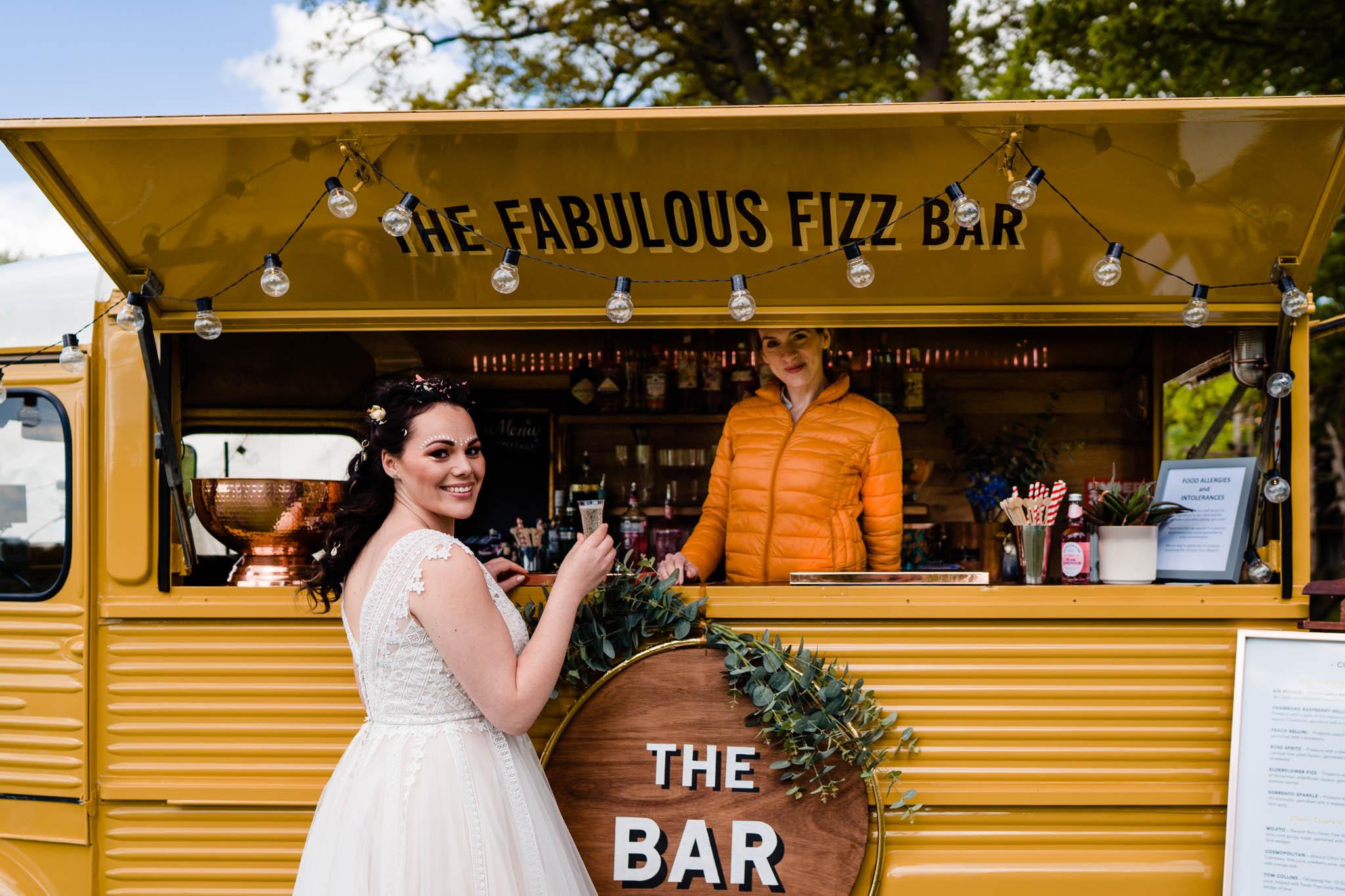 Festival wedding - Unconventional Wedding Festival - Fabulous Fizz Bar - Drink vans - vicki clayson photography 2