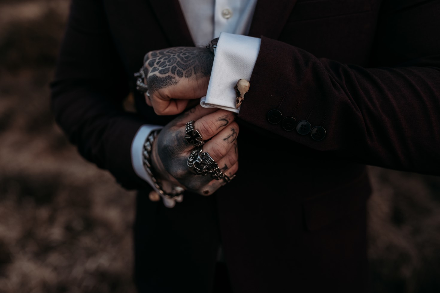 Finn And The Fox Photography-Moody Elopement Wedding- Unconventional Wedding- Dark Wedding- Tattooed groom -