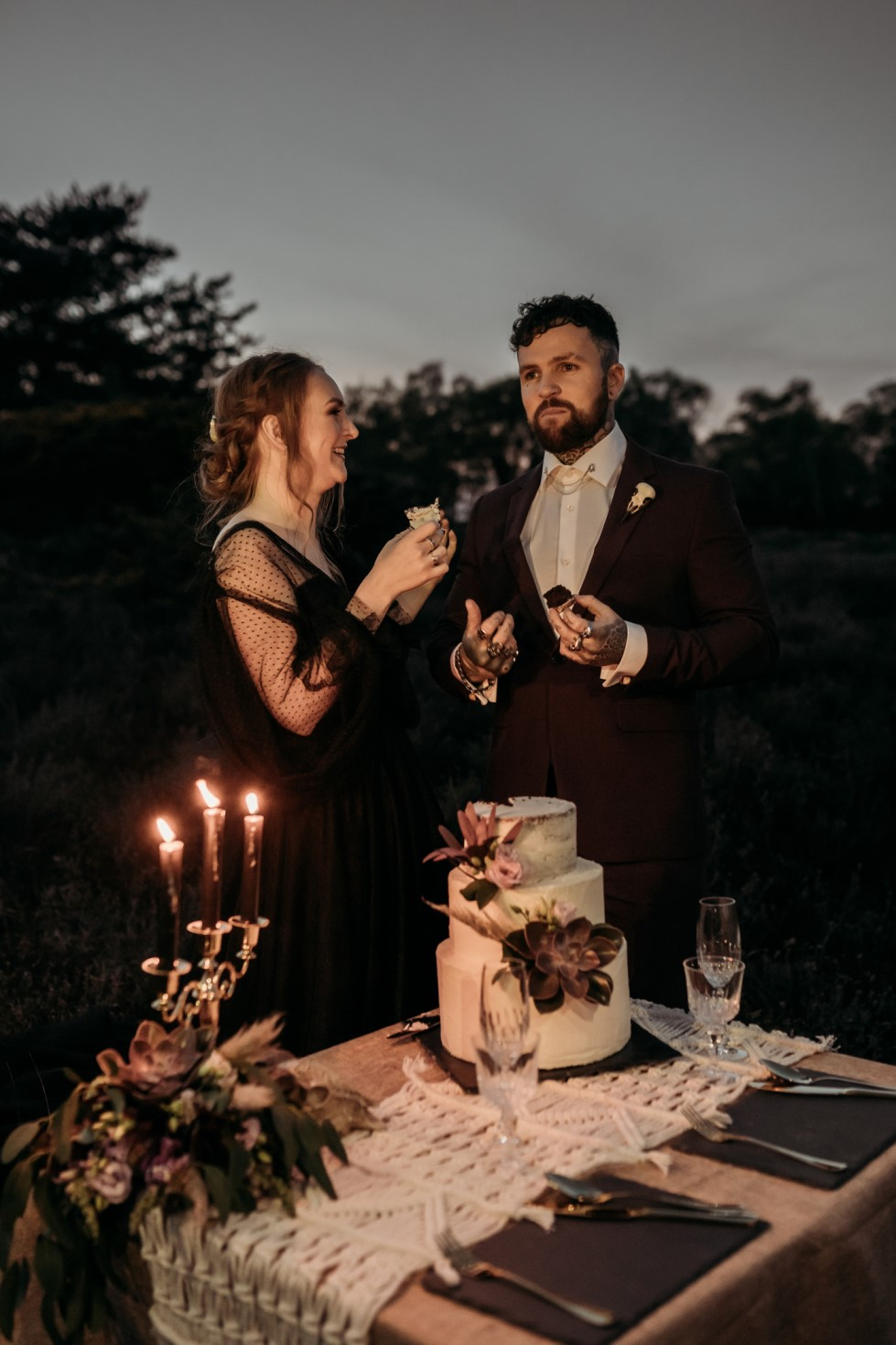 Finn And The Fox Photography-Moody Elopement Wedding- Gothic wedding inspiration - black wedding dress - gothic wedding accessories