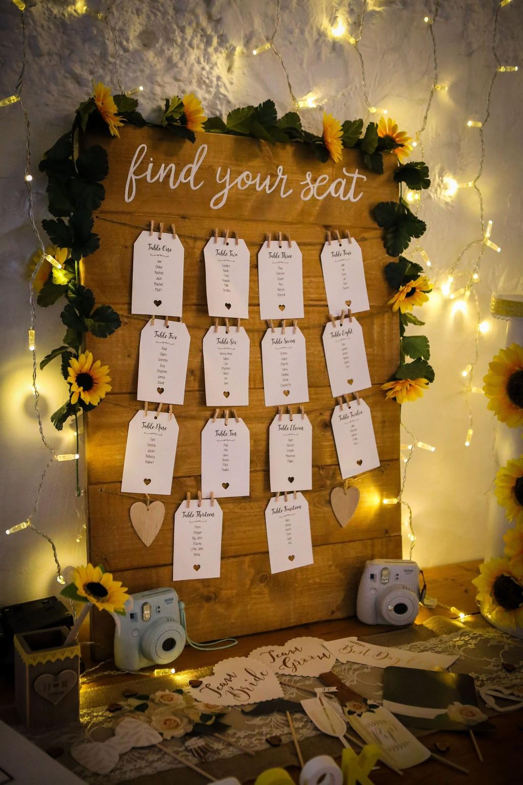 Harriet&Rhys Wedding - Magical sunflower wedding - sunflower seating plan