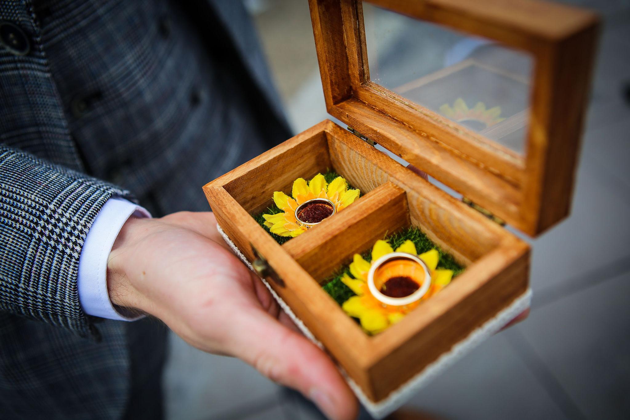 Harriet&Rhys Wedding - sunflower wedding ring presentation box