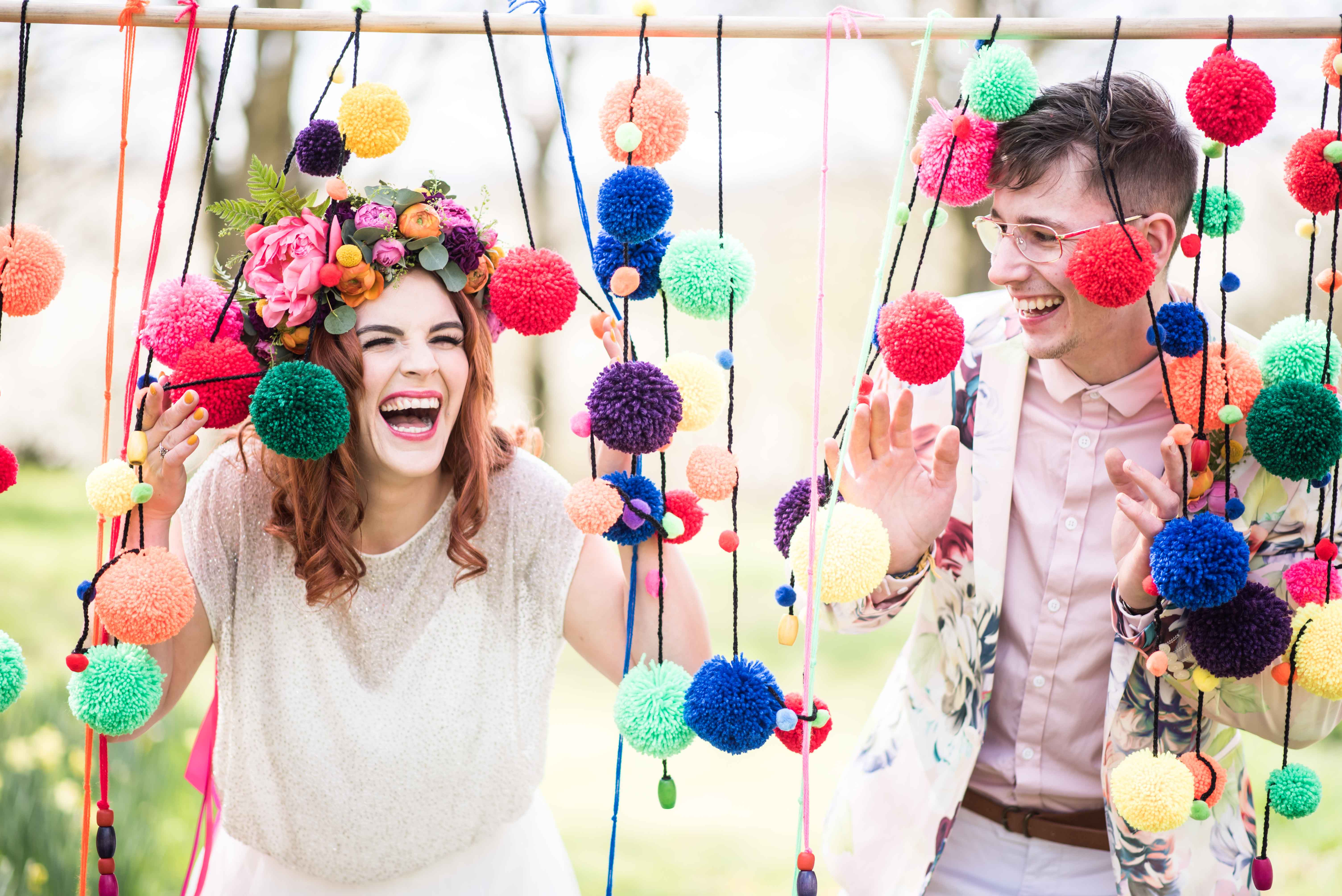Matt Glover Photography- Quirky Rainbow Wedding- Unconventional Wedding- Alternative Wedding- Unique Wedding- Creative Wedding- Colourful Wedding- Unique Wedding Ideas- Unique Wedding Dress- Unique Groomswear