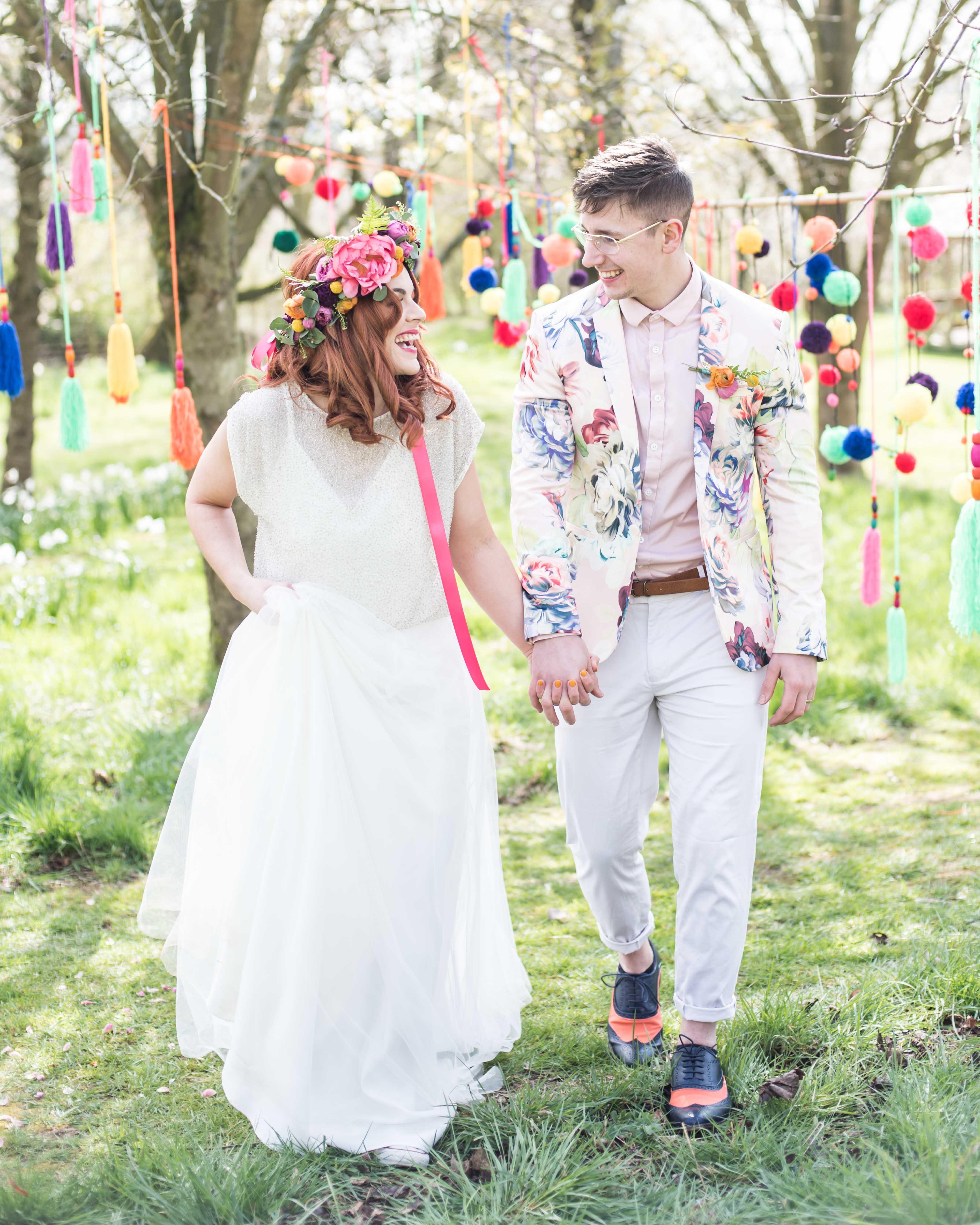 Matt Glover Photography- Quirky Rainbow Wedding- Unconventional Wedding- Alternative Wedding- Unique Wedding- Creative Wedding- Colourful Wedding- Unique Wedding Ideas- Unique Wedding Dress- Unique Groomswear